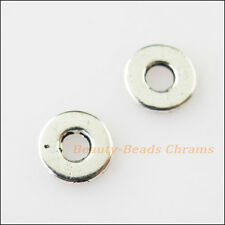 50Pcs Antiqued Silver Tone Tiny Round Flat Spacer Beads Charms 7mm