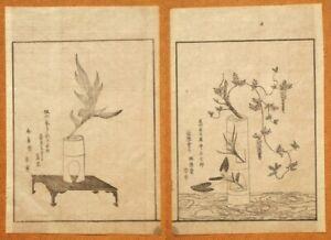 Two Shinobugusa Ikebana Japanese woodblock engravings; 1900's