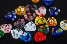 10pcs Charm Glass Heart Design Millefiori Beads Spacer Crafts Finding 11.5x12mm