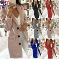 Women's Warm Woolen Trench Coat Ladies Winter Long Sleeve Blazer Jacket Overcoat