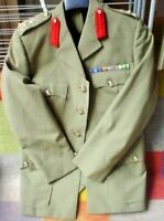 AUSTRALIAN ARMY MILITARY BRIGADIER JACKET WITH RIBBON MEDALS RANK & BUTTONS 1978