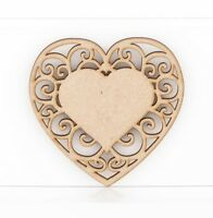 MDF Wooden Lace Heart Intricate Craft Shapes Embellishment Decoration Blank Sign