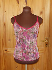 PER UNA pink purple green floral lace tulle camisole vest tunic top 14 42 M&S