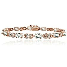 Rose Gold Tone 7.15ct White Topaz & Diamond Accent X & Oval Bracelet
