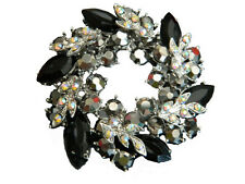Beautiful Silver Base & Black & AB Crystal Rhinestone Wreath Brooch Pin BR50