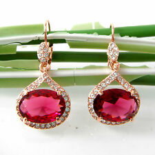 Navachi Red Zircon Ruby 18K Rose GP Crystal Leverback Hook Earrings BH2830