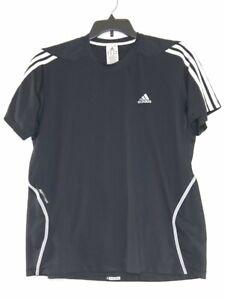 Adidas Mens Size Large Color Black Short Stripe Sleeve With Logo Crew Neck Shirt