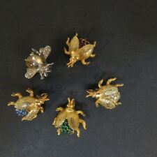 Vintage Lot of 5 Beetle Bug Insect Scatter Brooches rhinestones see description