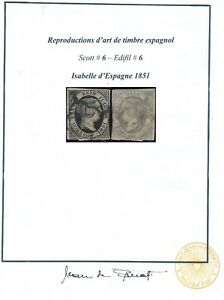 SPAIN 1851, QUEEN ISABELLA, SCOTT #6, SPERATI RARE FORGERY USED STAMP.    #Z132