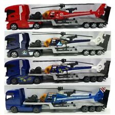 Majorette trailer transporter helicopter rescue tractor 1/87 diecast toy model