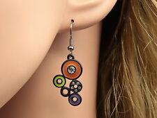 unique crystal orange purple circles earrings cocktail girl trends fashion E65