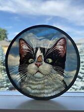 Vintage 1993 Glassmasters Lowell Herrero Cat & Monarch Butterfly Sun Catcher