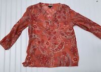 Talbots Small Pink Coral Paisley Blouse Top Tunic Floral 100% Cotton V Neck
