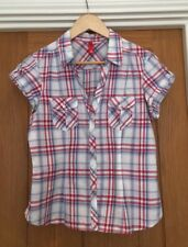 H&M Womens Blue & Red Check Blouse Size 12 Cowgirl