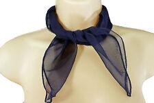 New Women Sheer Fabric Fashion Mini Scarf Dark Midnight Navy Blue Pocket Square