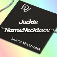 Jackie Name Necklace / Any Name Personalised Nameplate Pendant Chain Gift UK
