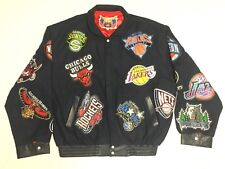 Jeff Hamilton Vintage Wool Leather Men's NBA Logo Patch Jacket 6XL- Excellent