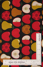 Apple Pear Fruit Kitchen Cotton Fabric Timeless Treasures C8393 - 1 yd 9 in