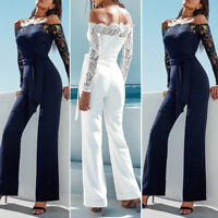 Women Playsuit Party Jumpsuit Romper Long Trousers Pants Clubwear Lace Sleeve