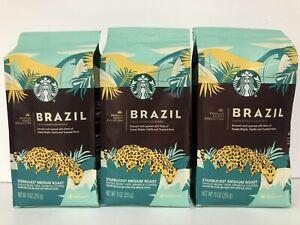 Lot of 3 STARBUCKS Premium BRAZIL Whole Bean Coffee 9 Oz each 1lb 11oz -T1