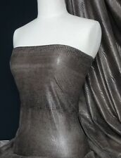 Brown Snake Embossed Suede Look Stretch Fabric Q637 BR