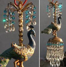 Peacock Bird jeweled porcelain Carousel Lamp ceiling Chandelier Vintage beads