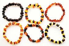Natural Baltic Amber Bracelet Anklet for Adult Chips 11-27cm 11 Color Elastic