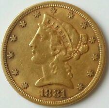 1881 $5 Liberty Head Gold Half Eagle