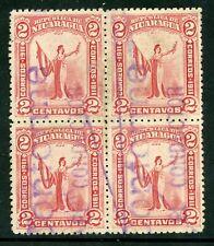 Nicaragua 1912 Liberty 2¢ Carmine Sc 296 Block of 4 VFU Q318