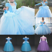 Kids Toddler Girls Cinderella Princess Fancy Dress Cosplay Costume Party Evening