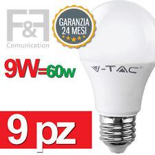 9 LAMPADINE LED E27 A60 9W 60W VTAC BIANCA NATURALE CALDA BULB LAMPADINA LAMPADA