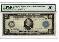 1914 $20 FRN Philadelphia PA PMG VF-20 Certified Large Size U.S. Currency #8017