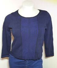 Studio M Bold Purple Black Knit Sweater L Scoop Neck Geometric 3-D Look Squares