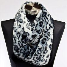 Faux Fur White Leopard Infinity Scarf Wrap Cowl Warm Cheetah Animal Print Snood