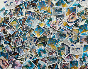 50 2nd Class Christmas Unfranked Postage Stamps XMAS Off Paper No Gum FV £33