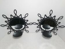 Modern Decorative Wall Candle Holders 2 Sconces Brown Metal Home Decor
