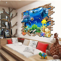 3D Ocean Dolphins Removable Wall Sticker Vinyl Decal Kids Room Decor Home Mural