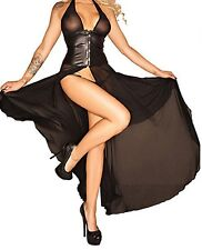 Latex Look See Through Black Mesh Dress Slits Up Front and Back Latex Waist