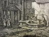 Charles Jean GROUX (1802-1865) Radierung 1859: WÄSCHEFRAUEN AM DORFBRUNNEN