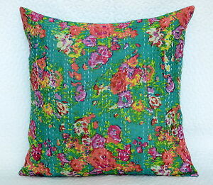 Traditional Indian Kantha Work Cushion Cover Pillow Case Floral Decorative Decor
