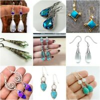 925 Silver Aquamarine Women Jewelry Fashion Dangle Anniversary Drop Earrings New