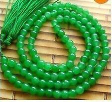 Tibet Buddhist 108 Green Jade Beads Prayer Mala Necklace 8mm