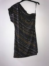 Warehouse One Shoulder Beaded Gold Silver Dress Party Festival Size 8 Sequin New