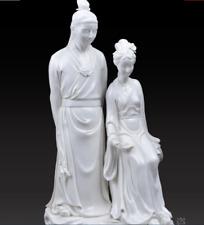 """14"""" Dehua Porcelain Famous Hong Loumeng Jia Baoyu Lin Daiyu People Pair Statue"""