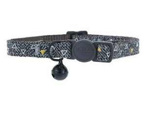 WHISKER CITY BLACK BELL FABRIC CAT COLLAR TRIANGLES LEASH