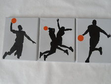 Basketball Players Silhouette Hand Painted Canvas / Wall Art / Set of 3 - Sports
