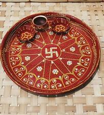 New Swastik Aluminium Hand Painted Pooja Puji Aarti Thali Plate