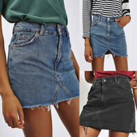 Women's High Waist Casual A-Line Denim Distressed Bodycon Short Jean Mini Skirt