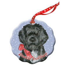 Portuguese Water Dog Portie Dog Holiday Porcelain Christmas Tree Ornament