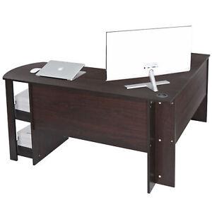 L-Shaped Computer Desk Corner Home Office Workstation Large Laptop Table Shelves
